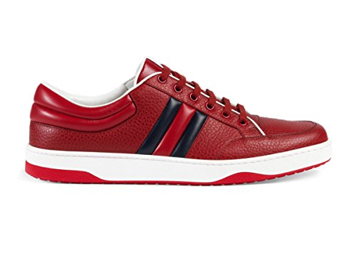 Gucci Men's Contrast Padded Textured Leather Lace-up Trainer Sneaker, Red 407330 (US 11.5 UK 11)