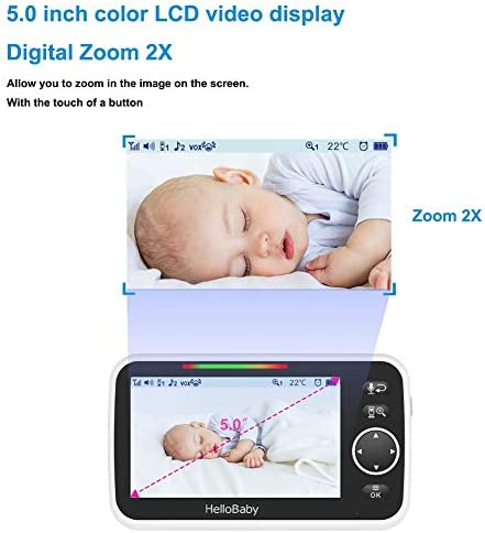 """41nCeK4dkbL. AC - Video Baby Monitor With Camera And Audio, 5"""" Color LCD Screen, HelloBaby Monitor Camera, Infrared Night Vision, Temperature Display, Lullaby, Two Way Audio And VOX Mode"""