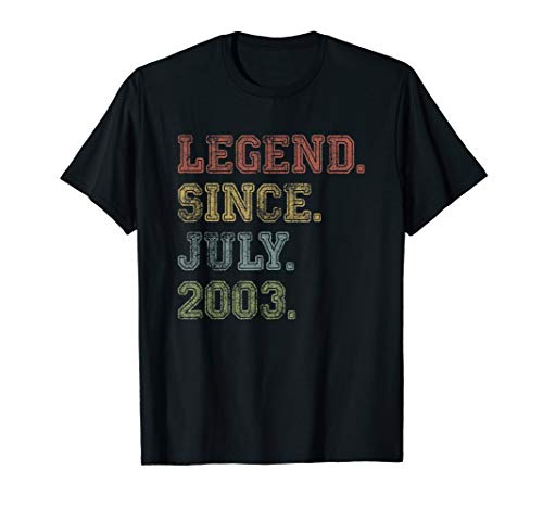 Legend Since July 2003 16th Birthday 16 Years Old Shirt Gift