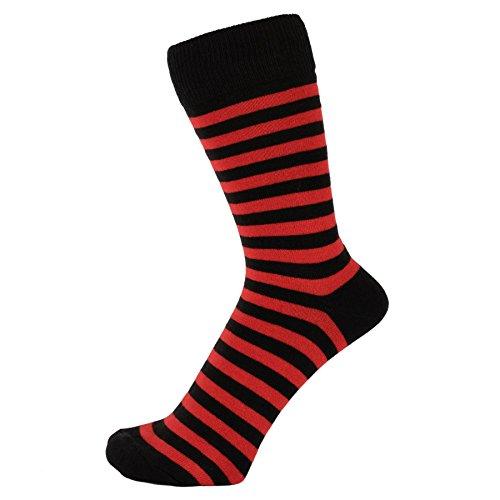 - ZAKIRA Finest Combed Cotton Striped Dress Socks for Men, Women (Red/Black, 6-11)