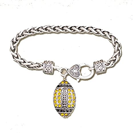 f6787160f10 Amazon.com: NEW ORLEANS SAINTS or Pittsburgh Steelers Black & Gold Crystal  Rhinestone Football Charm Bracelet.Show Your Pride!: Sports & Outdoors