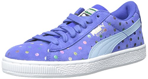 PUMA Suede Dotfetti JR Sneaker (Little Kid/Big Kid),Dazzling Blue/Cool Blue,6 M US (Suede Girls Shoes)