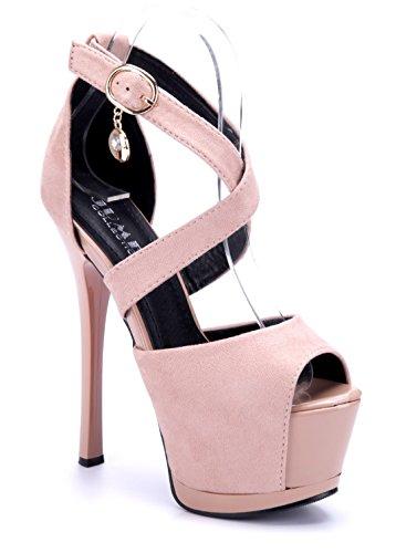 Schuhtempel24 Damen Schuhe Spangenpumps Pumps Stiletto 16 cm High Heels Rosa