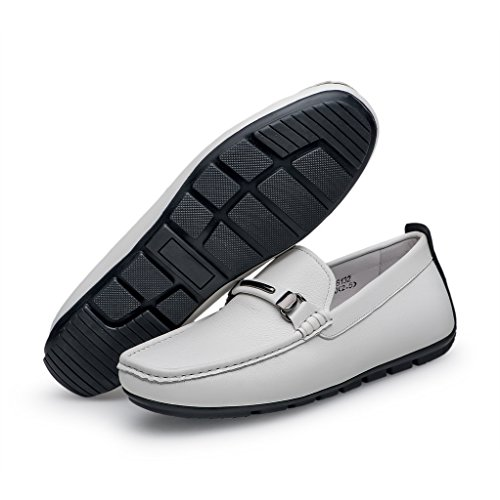 fe820df117644 ZRO Men's Casual Fashion Driving Loafers Flats Boat shoes WHITE US ...
