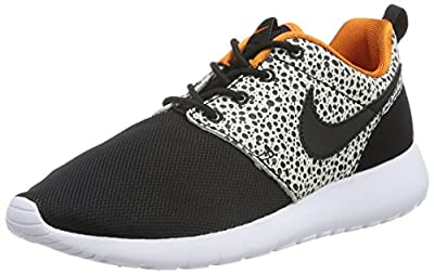 Nike Kids Roshe One Safari GS, BLACK/BLACK-CLY ORANGE-SMMT WHT, Youth Size 4.5