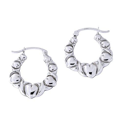 Sterling Silver Rhodium Plated Heart Graduated Hoop Earrings, 19mm (3/4 in)