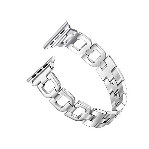 Secbolt Bling Band Compatible Apple Watch Band 38mm 40mm iWatch Series 4, Series 3, Series 2, Series 1, Stainless Steel Metal Wristband Strap, Slim Silver