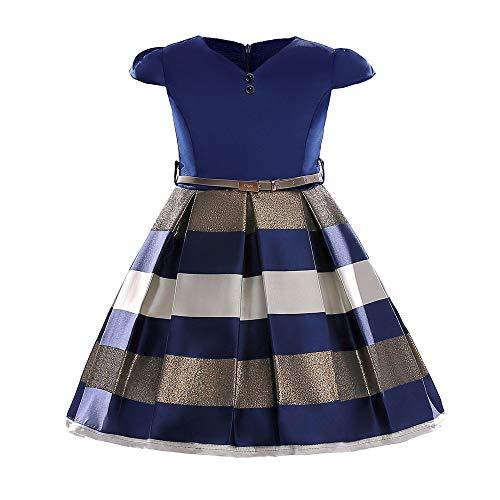 Girl Dress Gown Party Wedding Ruffles Dresses Ring Bearer Princess Dress(Blue 110cm)