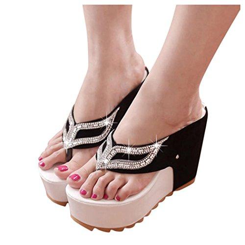 Summer Sandals, Inkach Women Fashion Summer Bohemia Rhinestones Flat Flip Flops Loafers Sandals White