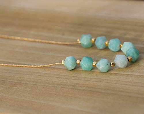 Short Dainty Geometric Amazonite Gemstone Beads Necklace on a Gold Filled Chain, Delicate Handmade Designer Jewelry for Women and Girls Birthday Gift