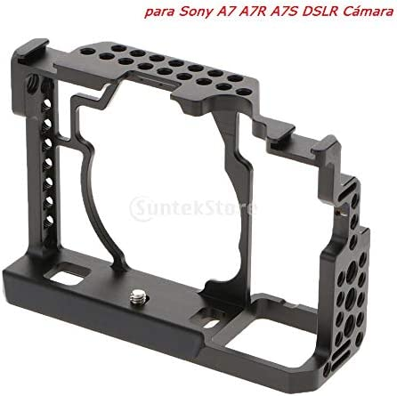 perfk マイクモニターLEDフラッシュをマウントするためのソニーA7 A7R A7Sカメラ用ポータブルカメラビデオスタビライザーケージリグマウント