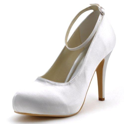 Ferme De Ep11049 Chaussures Confort Inner Plateforme Haut Satin Mariee Boucle Elegantpark Pompes Bout Blanc ip Cgqwx1p