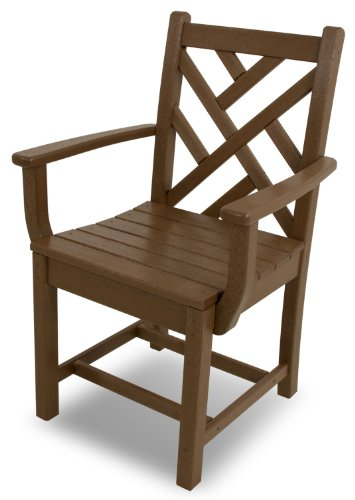 (POLYWOOD CDD200TE Chippendale Dining Arm Chair, Teak)