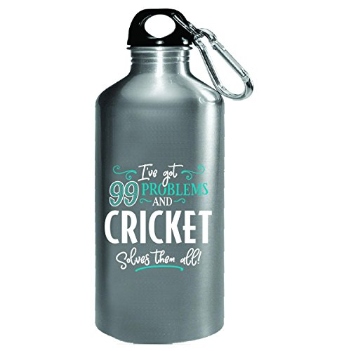 99 Problems Cricket Solves Them All Gift - Water Bottle by My Family Tee