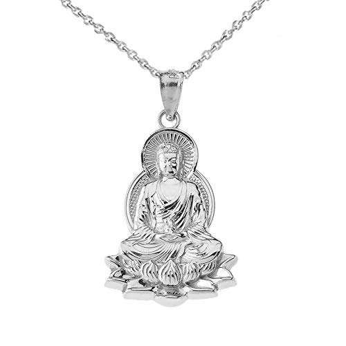 Fine Sterling Silver Buddha on Lotus Flower Pendant Necklace, 16