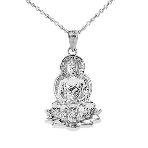 Silver Buddha Pendant - Fine Sterling Silver Buddha on Lotus Flower Pendant Necklace, 20