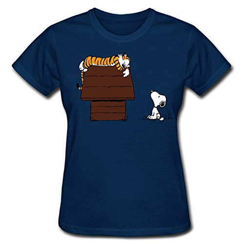 WOODO Women's Calvin and Hobbes Tiger On Doghouse Snoopy Funny Cartoon Picture T Shirt dark blue M