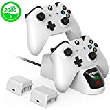 VOGEK Xbox Charger Station Xbox One Charging Dock Xbox Wireless Controller Charger + 2 × 2000mAh Rechargeable Battery Pack for Standard and Elite Controllers White