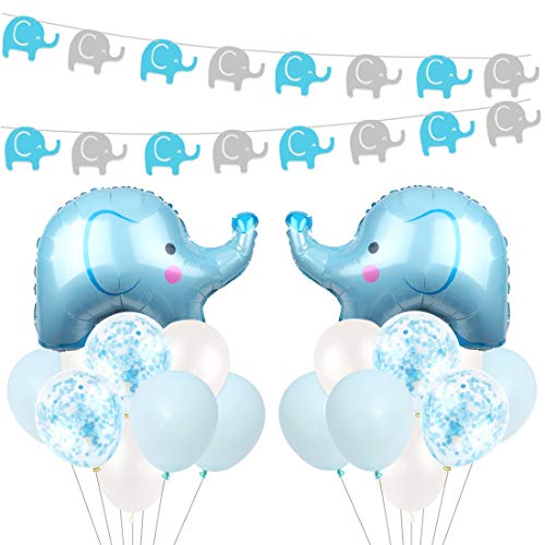 Blue Elephant Baby Shower Decorations for Baby Boys with Blue Mylar Elephant Balloon Confetti Balloons for Baby Elephant Birthday Supplies ()