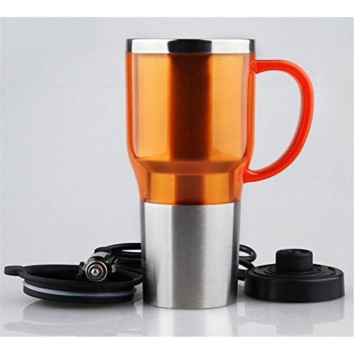 Bouilloire, pour voiture Ébullition 12V24V 100 degrés allume-cigare chaufferette tasse isolante isolante en acier inoxydable isolation orange
