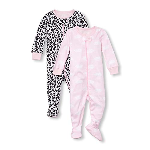 (The Children's Place Baby Girls' 2 Pack Novelty Printed Long Sleeve Footed Sleepers, Cameo, 5T)