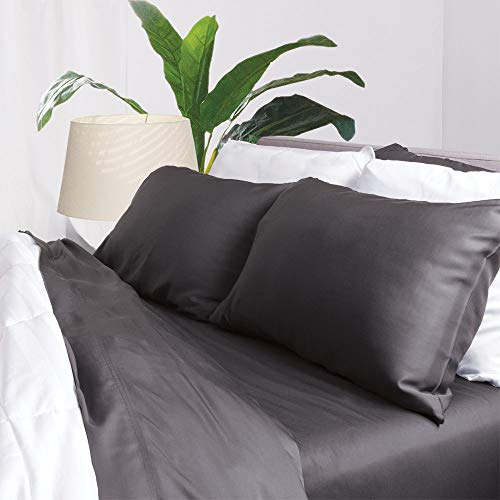 Aloha Soft Bamboo Sheets 4 Piece Bed Sheet Set - Includes Bed Sheets and Pillowcases - Lifetime Quality Guarantee (Queen, Graphite)