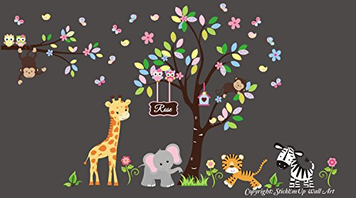 Baby Girl's Nursery Decals - Safari Animal Wall Stickers - Monogrammed Wall Decals - Jungle Wall Stickers - Kids Style - Nursery Design - Baby Cute - Baby Fashion by Nursery Wall Decals