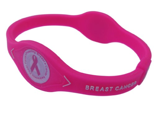 NEON HOT PINK Breast Cancer Awareness Bracelet Wristband Pink Ribbon (Large, 8