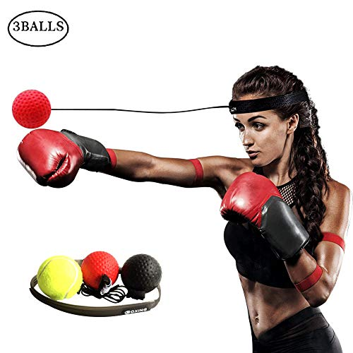 (Yaonieo Boxing Training, Boxing Reflex Ball, Combat Decompression Vent Ball Reflex Training Coordination Ability Speed Precision Decompression,3 Balls)