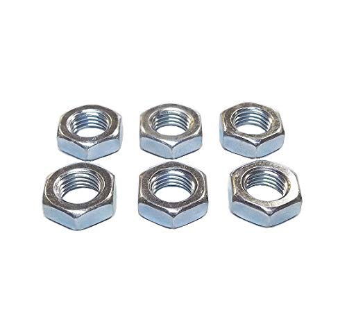 (QSC M10 X 1.5 Metric Steel Right Hand Jam Nut, Clear Zinc Plated (6-Pack))