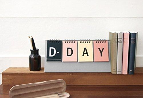 ICONIC D-Day Calendar - Wirebound flip for both Perpetual desk calendar and D-Day desk calendar (Gray) -