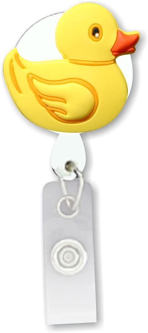Rubber Duck 3D Rubber Retractable Badge Holder