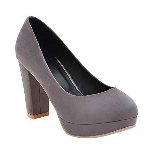 Latasa Womens Faux Suede Block High Heels Dress Pumps Gray