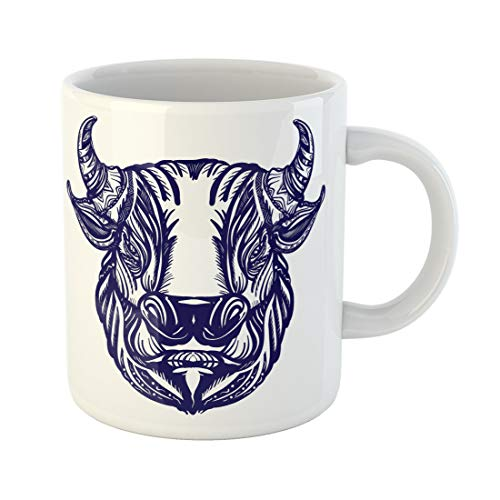 (Emvency Funny Coffee Mug Red Bull Head Tattoo and Design Big Furious Symbol of Power Aggression Angry 11 Oz Ceramic Coffee Mug Tea Cup Best Gift Or Souvenir )