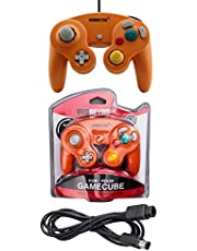 Orange Controller and 6ft Extension Cable Set –Compatible with Nintendo Gamecube, Switch, Wii U and PC by EVORETRO