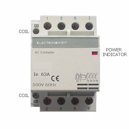 Electrodepot 63Amp NO Contactor 4 Pole, Coil 120VAC Heating or Lighting Designer Modular with status indicator