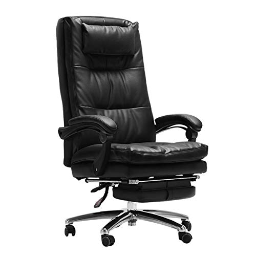YWARX Genuine Leather High Back Executive Office Chair, Boss Computer Desk Adjustable Swivel Chair - 90°-170°Tilt - with Footrest and Headrest - Black