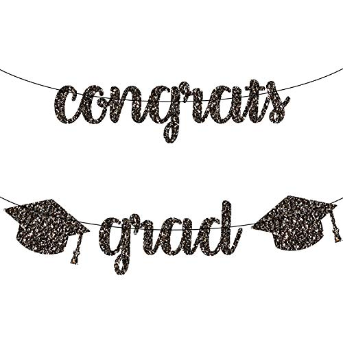 Congrats Grad Graduation Banner - Real Black Glitter Graduation Garland with 2 Cap | Graduation Party Supplies 2019 | 2019 Graduation Decorations for Grad Party, Mantle, Table | Little DIY Required