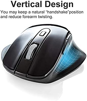 Bluetooth Vertical Ergonomic Mouse Compatible with MacBook Silent Noiseless Blue LED Optical Computer Mice, Japan Brand 800//1200//1600//2400 DPI, 6 Buttons Laptop SANWA Windows Android Mac OS