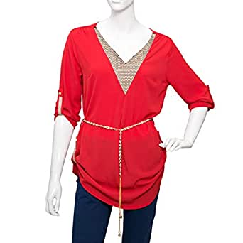 Damacseno Red Mixed V Neck Blouse For Women