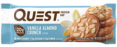 (Quest Nutrition Vanilla Almond Crunch Protein Bar, High Protein, Low Carb, Gluten Free, Soy Free, Keto Friendly, 12 Count)