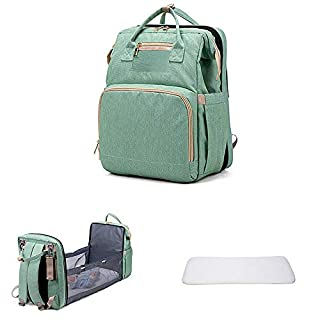 3 in 1 Portable Travel Bassinet Foldable Diaper Changing Station Mummy Bag with Toddler Lounger,Portable Crib Infant Sleeper for Newborn Baby (Light Green)