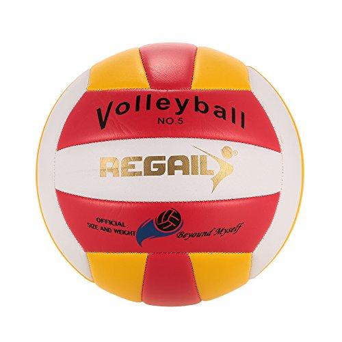 Lixada Tamaño 5 Oficial de la PU del Voleibol del Tacto Suave de Volley Ball Cubierta Outdoor Training balón rojo