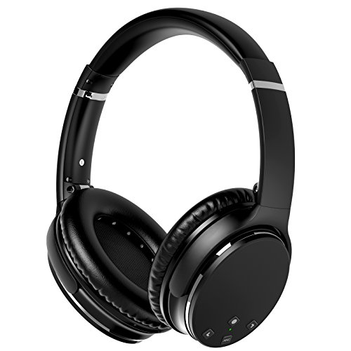 KUNSTWORKER Active Noise Cancelling Bluetooth Headphones, Wireless Earphones Over-ear Stereo Headsets with Built-in Microphone and Volume Control-Black (black)