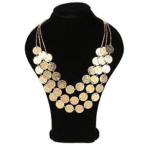 Wekold Women's Multi-Layer Chain Pendant Choker Statement Bib Necklace Strands