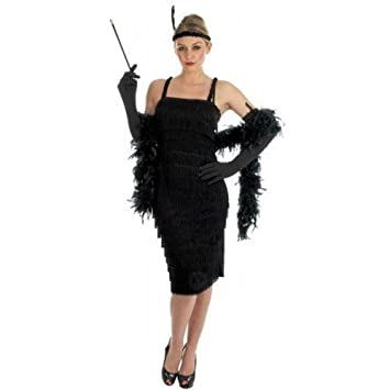 99acf45ba455a Image Unavailable. Image not available for. Colour  Ladies Black Red 1920s  30s Flapper Charleston Fringed Tassled Fancy Dress Costume Outfit inc Plus  Size