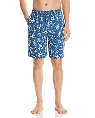 Psycho Bunny Men's Printed Woven Jam Lounge Shorts (Key Lime Bunny, X-Large) ()