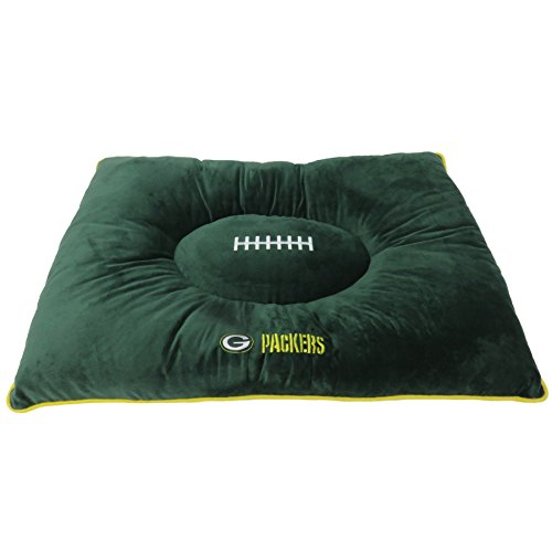NFL PET Bed - Green Bay Packers Soft & Cozy Plush Pillow Bed. - Football Dog Bed. Cuddle, Warm Sports Mattress Bed for Cats & Dogs