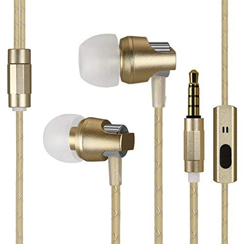 KingYou Earbuds Wired Metal in-Ear Headphones, Noise-Isolating Heavy Bass Earphones with Microphones Compatible with iPhone, iPad, iPod, Samsung Android Smartphone MP3 MP4 Players (Gold)