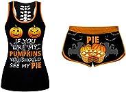 ZBYY Women's Comfy Printing Tank Top Set O-Neck Halloween Short Sleeve Shirts Sets Elastic Drawstring Shor